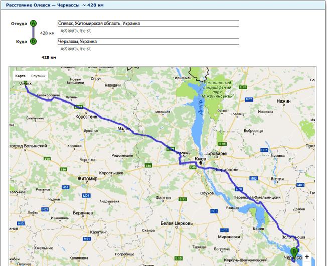 Расчет расстояния от Олевска до Черкасс