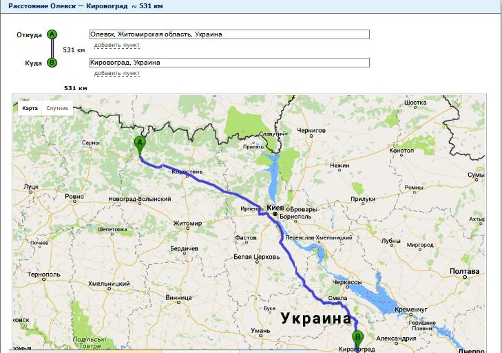 Расчет расстояния от Олевска до Кировограда