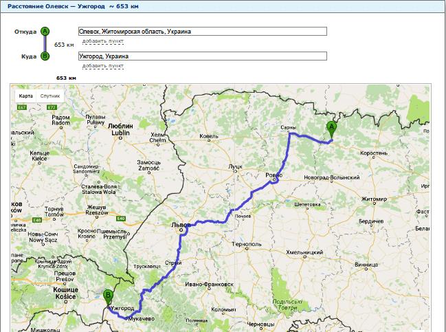 Расчет расстояния от Олевска до Ужгорода