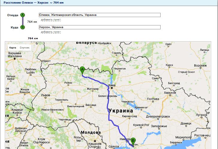 Расчет расстояния от Олевска до Херсона