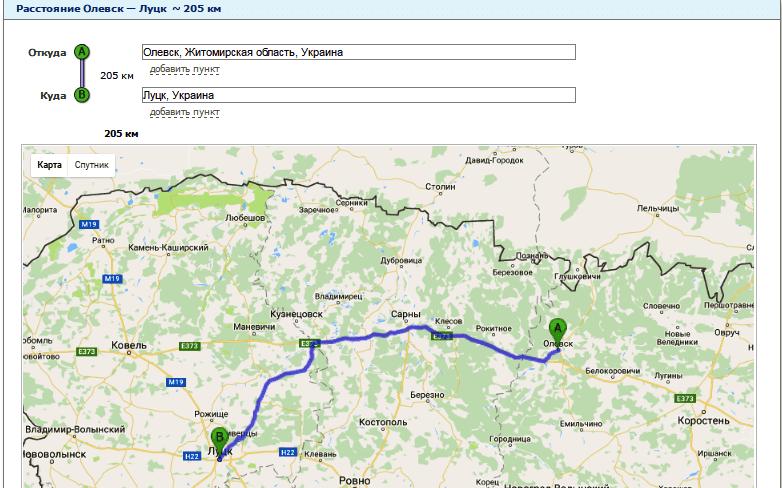 Расчет расстояния от Олевска до Луцка