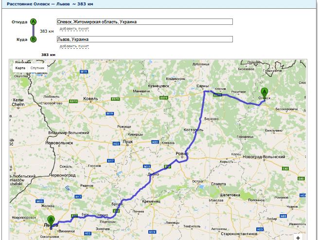 Расчет расстояния от Олевска до Львова