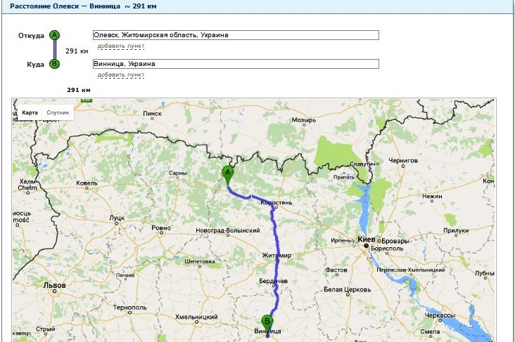 Расчет расстояния от Олевска до Винницы